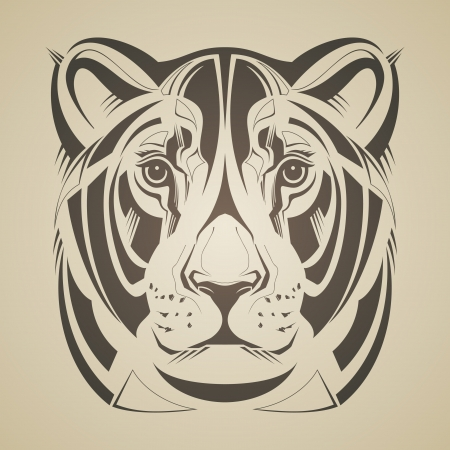 drawings image: Lioness head  Vector illustration