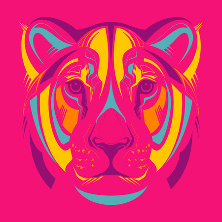 Awesome portrait of lioness  Vector
