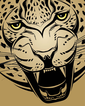 Angry leopard  Creative illustration  Vector