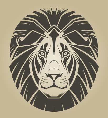 head in the sand: Lion  Vector illustration