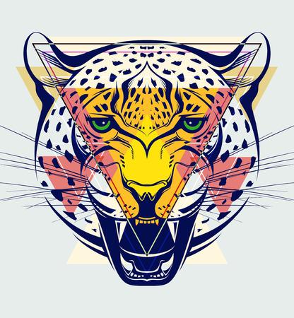 leopard head: Fashion illustration of leopard head Illustration