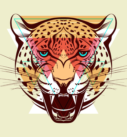 Angry leopard  Fashion illustration  Vector