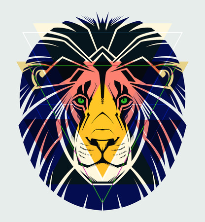 Fashion illustration of lion head  Vector