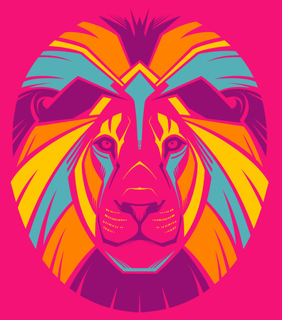 object print: Awesome portrait of lion