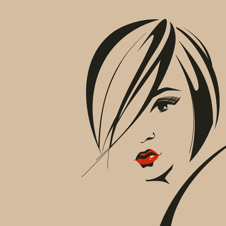 salon background: Woman face