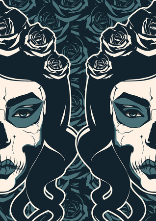 Sugar skull girl with paint for Day of the Dead  Vector