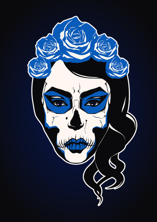 blue eyes girl: Sugar skull girl face day of the dead