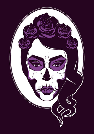 Day of The Dead Woman with Sugar Skull Face Paint  Vector