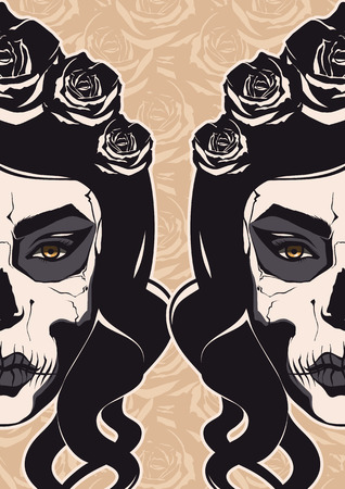 Sugar Skull Lady for Day of the Dead or Dia de los Muertos   Vector