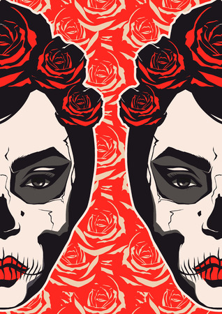 Sugar skull girl face day of the dead  Vector