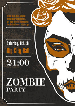 Party poster  Zombie girl  Vector