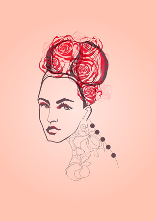 The young woman with rose Vector