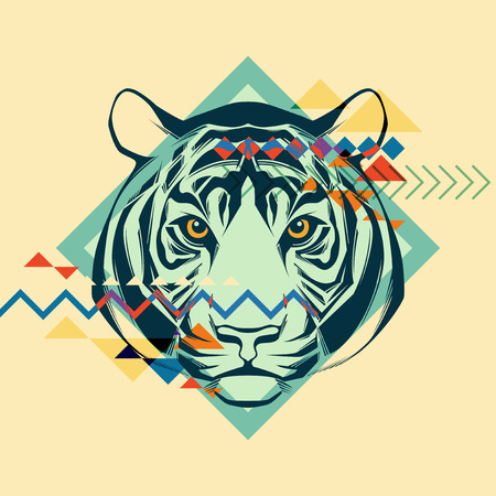 squeak: Colorful portrait of a tiger  Creative illustration