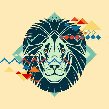 lion dessin: Portrait color� d'un lion Illustration cr�ative