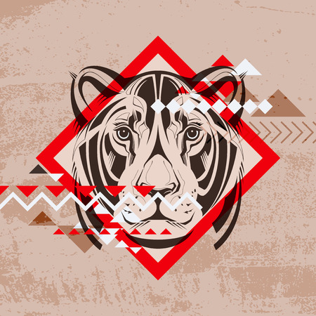 Fashion vector illustration of a lionnes s head  Vector