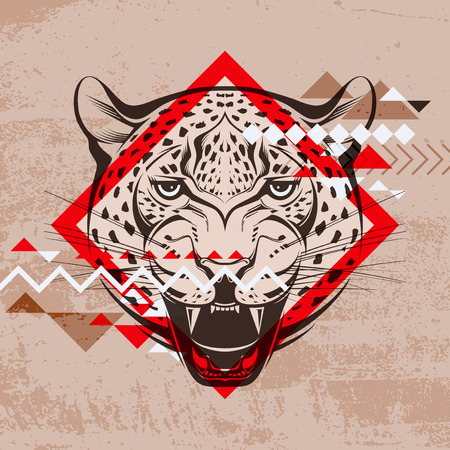 Fashion vector illustration of a leopard s head  Vector