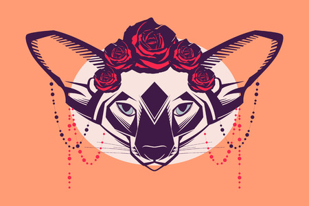Fashion portrait of cat in a wreath of roses and beads Vector
