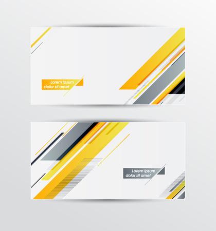 amarillo y negro: Un conjunto de modernas banderas del vector con patr�n geom�trico Vectores