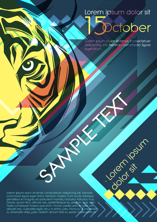 Design template with tiger and place for text. Festival poster Vector