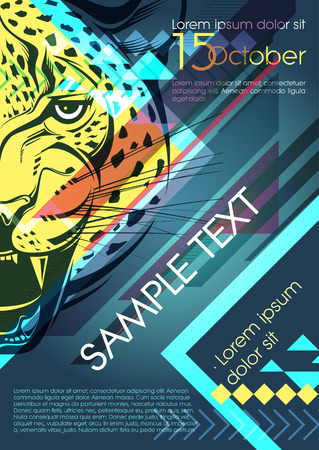 intertainment: Design template with leopard and place for text. Festival poster