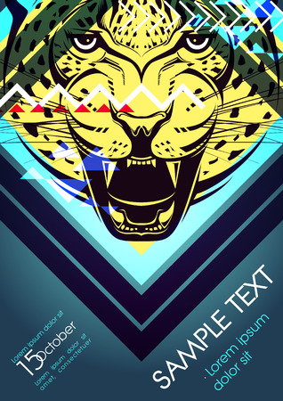 Design template with leopard and place for text. Festival poster Vector