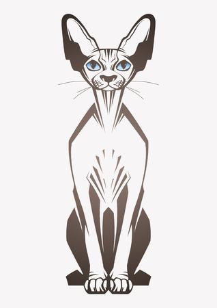 Gato de la esfinge. Ilustración vectorial