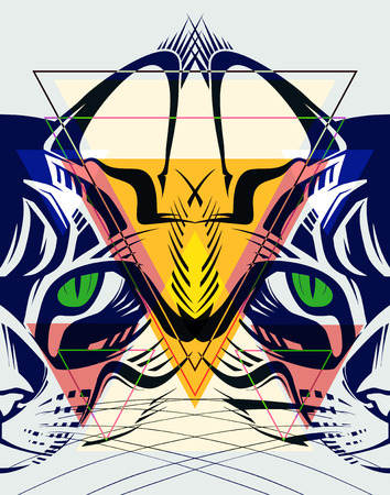 rigorous: Fashion illustration of cat.