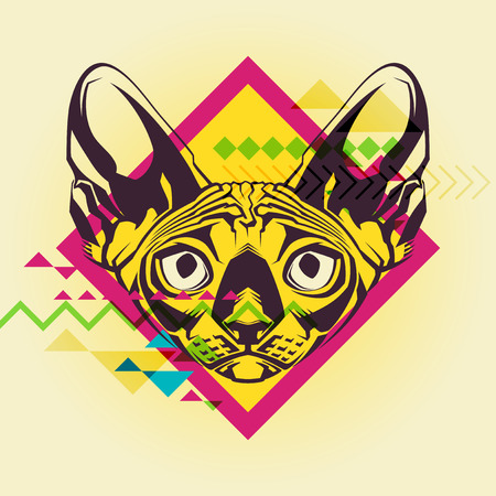 Creative illustration of a cat Vector