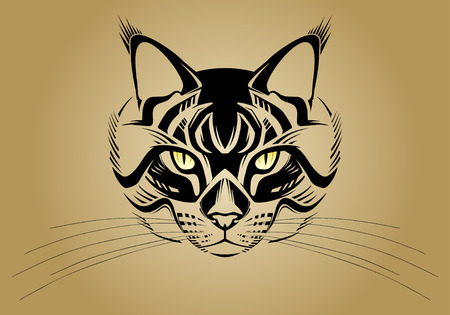pussy: Stylized cat face. Vector illustration