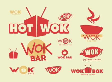 take out food container: Chinese food, menu cover template with box, wok and chopsticks Illustration