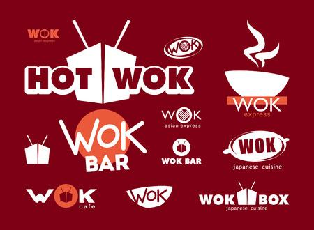 arroz chino: Wok etiquetas, signos, símbolos y elementos de diseño Vectores