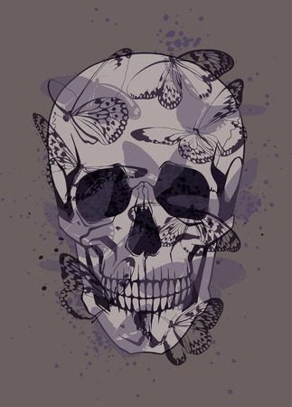 Creative illustration of a skull with butterflies Illustration