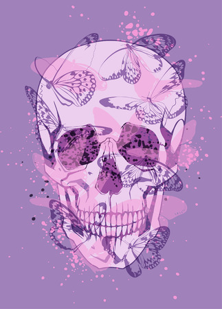 butterfly in hand: Creative illustration of skull and butterflies around