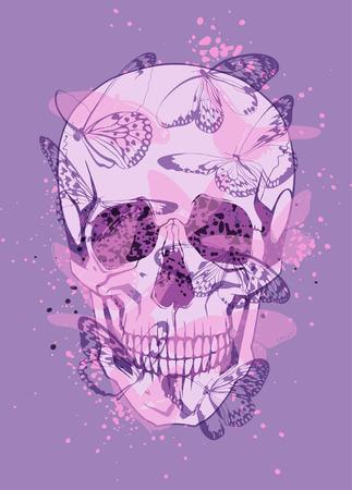 Creative illustration of skull and butterflies around