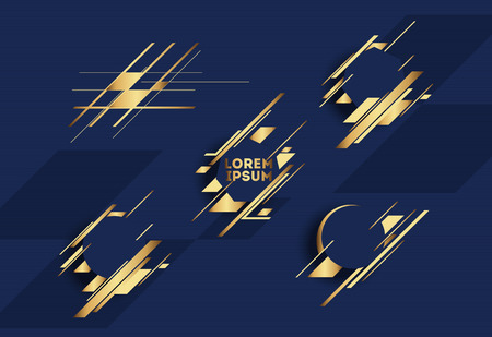 Gold design elements with abstract geometric forms Vector
