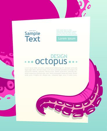 Bright octopus. Flyer design template Vector
