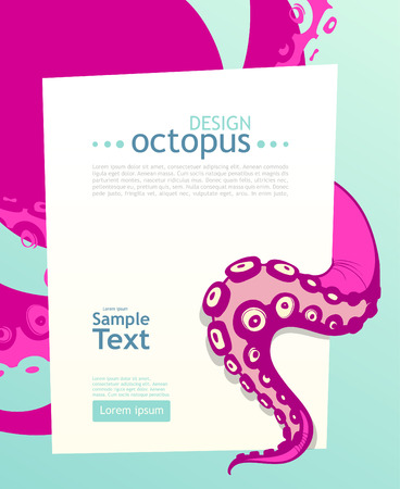 Bright octopus. Flyer design template