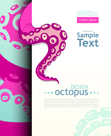 Bright octopus. Flyer design template