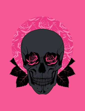 Black Skull and Roses. Vector Illustration Vector