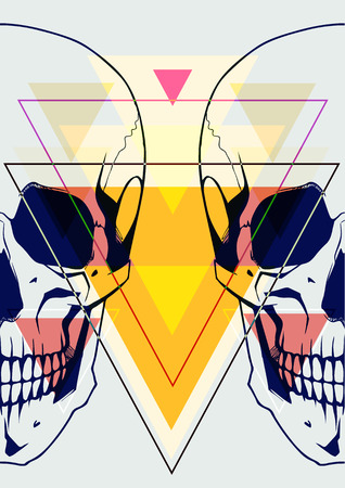 rigorous: Fashion illustration of skull
