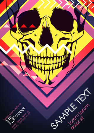 Poster with human skull Vector