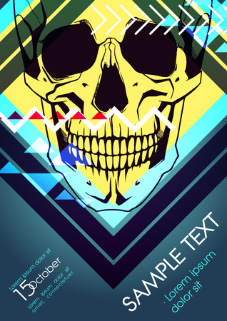 yellowrn: Design template with skull and place for text. Festival poster