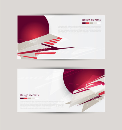 Banners with abstract geometric forms Vector