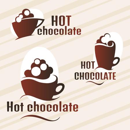 chocolat chaud: Conception ensemble de chocolat chaud Illustration