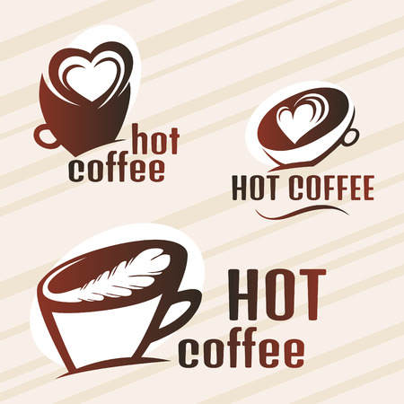 Hot Coffee design set Vector