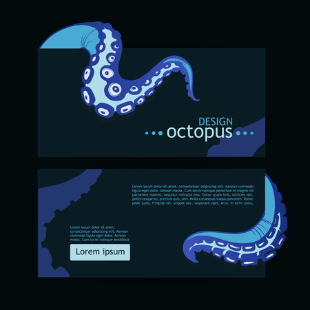 Template for design with blue tentacles of octopus. Vector illustration.