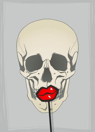 skulls: Funny skull with lips Illustration