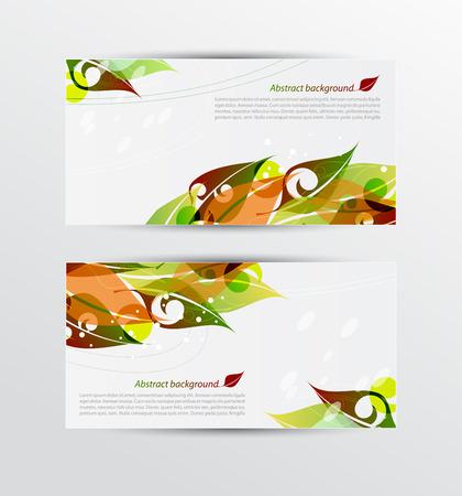 leaf shape: Vector set of colorful autumn leaves banners illustration Illustration