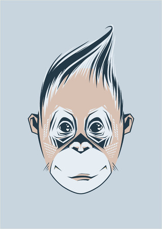 abstract gorilla: Vector illustration of a monkey, a symbol of New Year 2016.