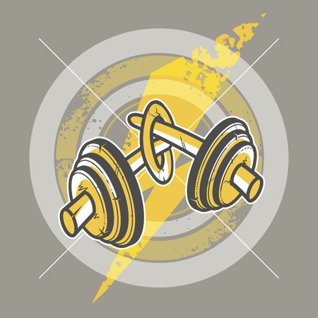 knotted: Knotted weight barbell. Creative illustration